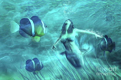 Aquatic Digital Art - The Water Maid by John Edwards