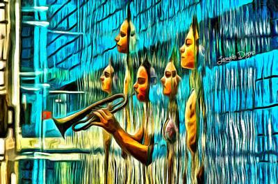 Pool Digital Art - The Water Musician - Da by Leonardo Digenio