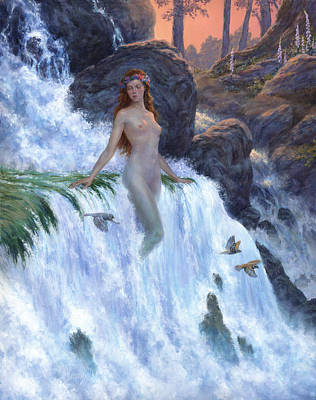 Mystical Landscape Painting - The Water Nymph by Richard Hescox