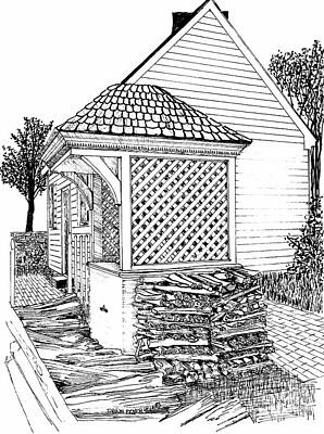 Reconstruction Drawing - The Water Well Next To The Wood Pile by Dawn Boyer