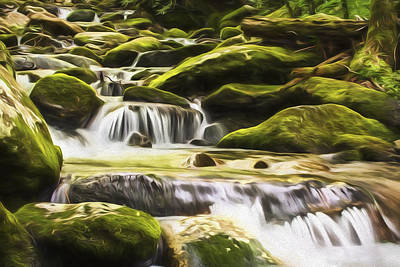 Smokey Mountains Digital Art - The Water Will II by Jon Glaser