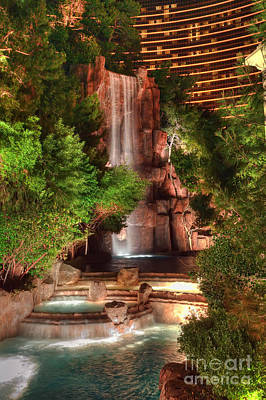 Photograph - The Waterfall At The Wynn Resort by Eddie Yerkish