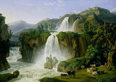 Falling Water Painting - The Waterfall At Tivoli by Jacob Philippe Hackert