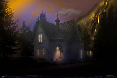 Digital Art - The Waterfall House At Twilight by J Griff Griffin