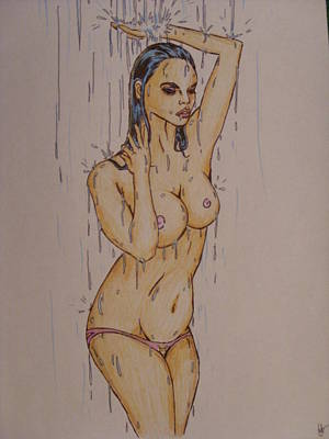Caress Drawing - The Waterfall by Michael Toth