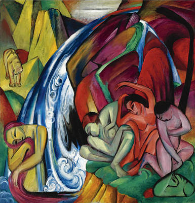 Franz Marc Painting - The Waterfall. Women Under A Waterfall by Franz Marc
