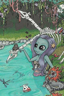 Mermaid Mixed Media - The Watering Hole by Shaz Justice