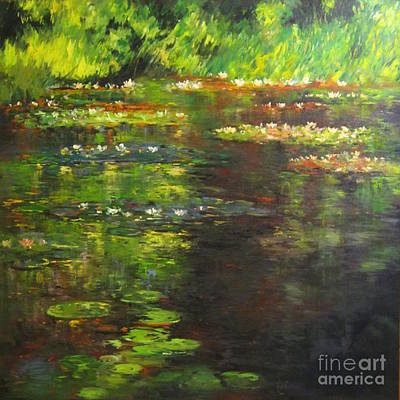 The Waterlily Pond Original by Farideh Haghshenas