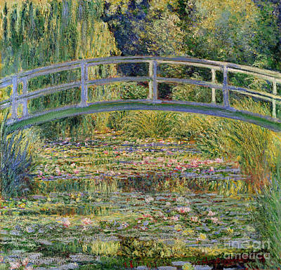 Floral Painting - The Waterlily Pond With The Japanese Bridge by Claude Monet