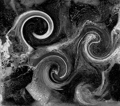 Digital Art - The Wave Of Truth Bw by Lesa Fine