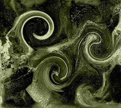 Digital Art - The Wave Of Truth Green by Lesa Fine