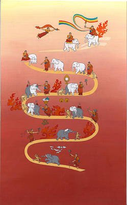 Tibetan Buddhism Drawing - The Way Of The White Elephant The Way To Meditation by Berty Sieverding