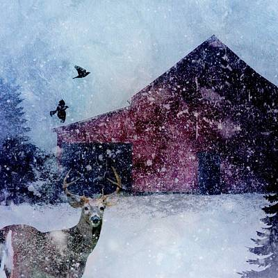 Digital Art - The Way Of Winter Rustic Barn Deer by Michele Carter