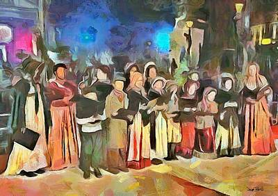 Painting - The Way We Were - Christmas Caroling by Wayne Pascall