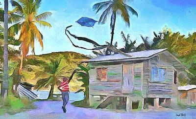 Painting - The Way We Were - Flying Kite by Wayne Pascall