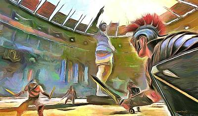 Painting - The Way We Were - Gladiators by Wayne Pascall
