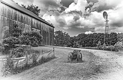 Weed Photograph - The Way We Were - Timber Framed Barn 3 Bw by Steve Harrington