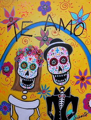 The Wedding Day Of The Dead Print by Pristine Cartera Turkus