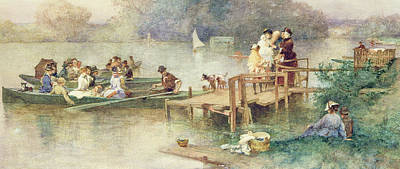 Boats In Water Drawing - The Wedding Party by Ferdinand Heilbuth