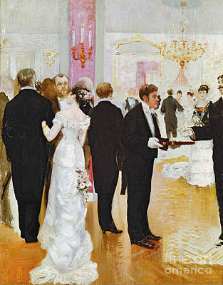Room Interior Painting - The Wedding Reception by Jean Beraud