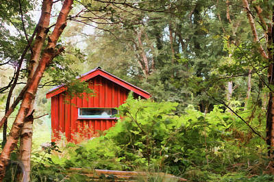 Shed Digital Art - The Wee Red Shed by Francesca Winspeare