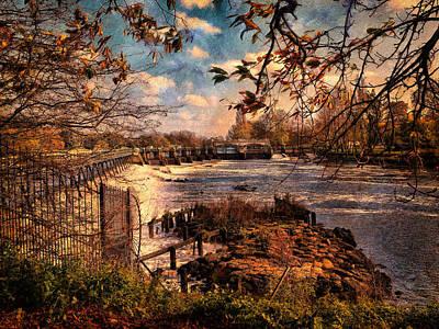 Digital Art - The Weir At Teddington by Leigh Kemp