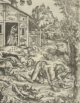 Relief - The Werewolf Or The Cannibal by Lucas Cranach the Elder