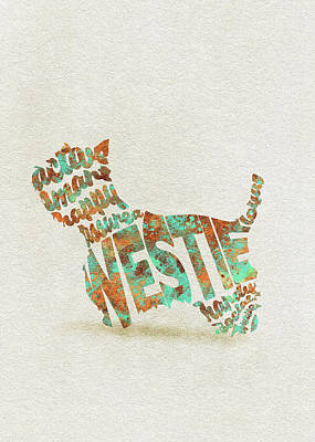Painting - The West Highland White Terrier Watercolor Painting / Typographic Art by Inspirowl Design