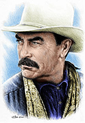 Colored Pencil Portrait Drawing - The Western Collection Monty Walsh by Andrew Read