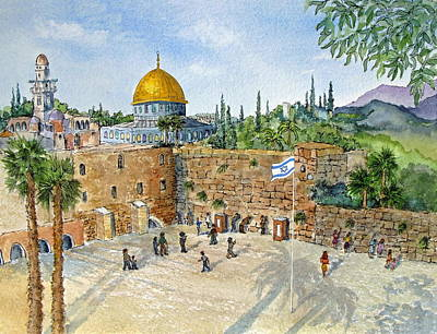 The Western Wall And Dome Of The Rock In Jerusalem Original by Bonnie Sue Schwartz
