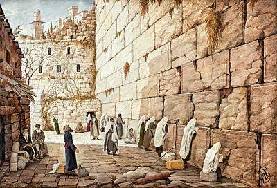 Rabbi Painting - The Western Wall  by Aryeh Weiss