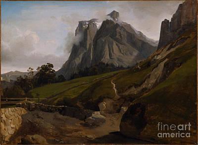 Desert Sunset Painting - The Wetterhorn Switzerland by Celestial Images