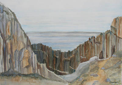 Oregon Coast Painting - The Whale Watchers At Elephant Rock by Jenny Armitage