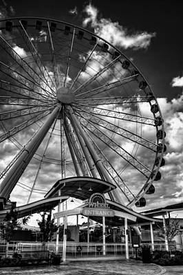 Pigeon Forge Photograph - The Wheel Entrance In Black And White by Greg Mimbs