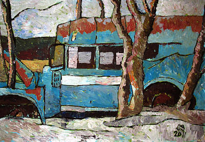 High Key Painting - The Wheels Of The Bus Stopped by Charlie Spear