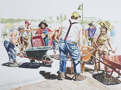 Painting - The Wheelsbarrow Band by Gertrudes  Asplund