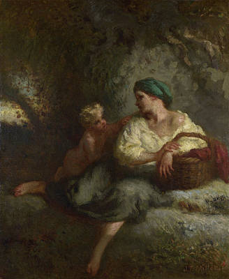 Basket Painting - The Whisper by Jean-Francois Millet