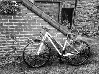 Photograph - The White Bicycle In Monochrome by Joan-Violet Stretch