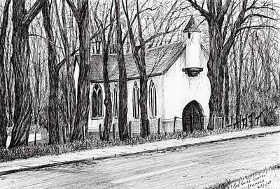 Winter Drawing - The White Chapel by Vincent Alexander Booth