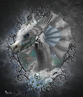 Digital Art - The White Dragon by Ali Oppy
