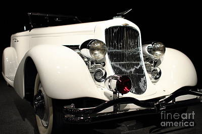 Domestic Car Photograph - The White Duesenberg by Wingsdomain Art and Photography