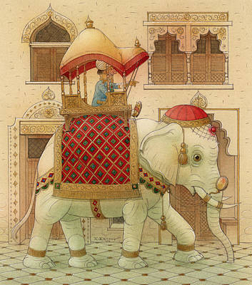 The White Elephant 01 Art Print by Kestutis Kasparavicius