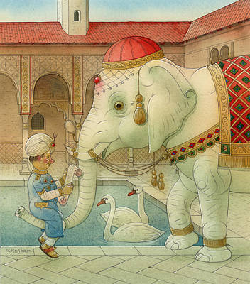 Good Luck Drawing - The White Elephant 07 by Kestutis Kasparavicius