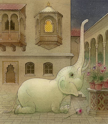 Drawing - The White Elephant 09 by Kestutis Kasparavicius