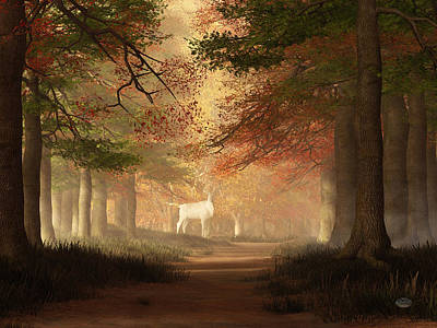 Spirit Guides Digital Art - The White Elk by Daniel Eskridge