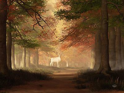 Digital Art - The White Elk by Daniel Eskridge