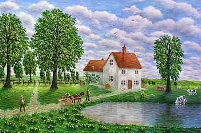 Horse And Cart Painting - The White Farm by Ronald Haber