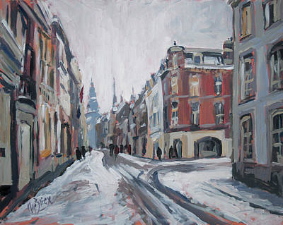 Meuse Painting - The White Grand Canal Street Maastricht by Nop Briex