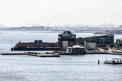 Staten Island Ferry In New York Photograph - The White Hall Terminal by William Rogers