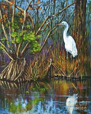 Painting - The White Heron by Dianne Parks